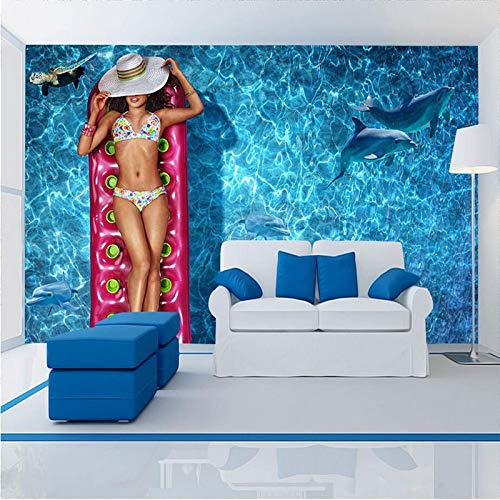ZYZED Wallpaper 3D Stereoscopische Bikini Beauty Murals Blauwe Zee Wallpaper s Muurpapieren voor Woonkamer Home Decor Thema Hotel Blauw