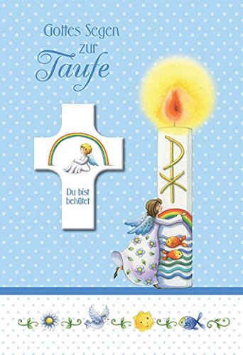 Gottes Segen zur Taufe: Glückwunschkarte mit Segenskreuz - blau