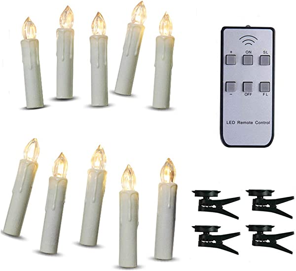 TBW Battery Powered Remote Control LED Christmas Tree Taper Candles With Remote And Removable Clips For Weddings Vigil And Menorah 4 Ivory Pack Of 10