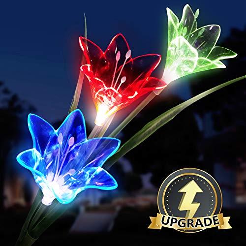 Luces Solares flores, LED Luz Solar 3 lirio Flores 7 Variaciones de Color Impermeable, Ideal...