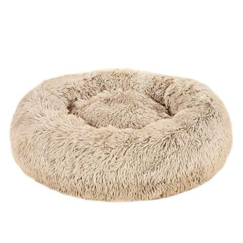 Hundebett, Rund Hundekissen Hundesofa Katzenbett Donut, leicht waschen, Haustierbett/Hundebett/katzenbettchen, Fangqiyi, beige, 100 cm