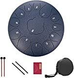 Steel Tongue Drum 13 Notes 12 inches Percussion Instrument Lotus Hand Pan Drum with Carry Bag, Music Book, Mallets (Navy-blue)