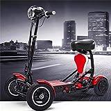 GQQ Sillas de Ruedas, Conveniente Scooter Eléctrico Plegable de 4 Ruedas Ancianos Discapacitados Al Aire Libre Scooter Motorizado de 4 Ruedas Control de 3 Velocidades 36V15A Duración de la Batería de