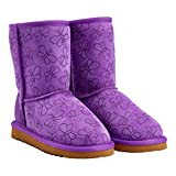 Kirkland Signature Girl's Shearling Boot-Purple Butterfly (Size 2)