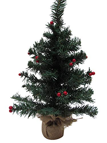 dobar Holiday Essentials Small Christmas Tree - 18' Tabletop Christmas Tree with Berries & Burlap Base