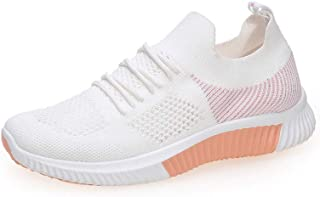 Flying Woven Breathable Casual Women's Shoes, Summer New Comfortable and Versatile Soft And Lightweight Sports Shoes Mesh Cotton Shoes,Pink,35