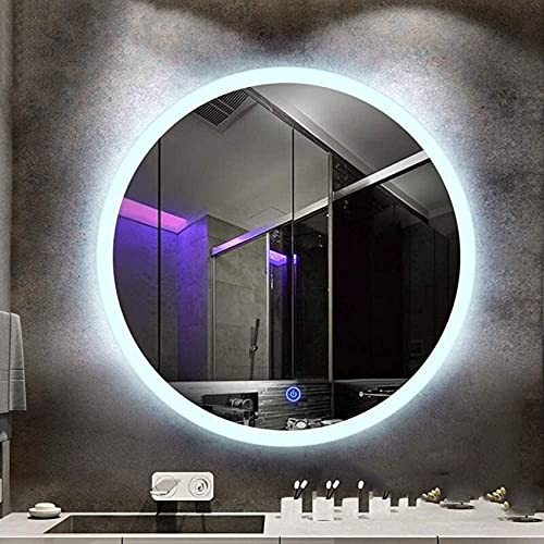 NMDCDH Espejo de baño Moderno, Espejo de Pared Iluminado con LED Integrado, Redondo sin Marco, Interruptor táctil, luz Blanca 6000k