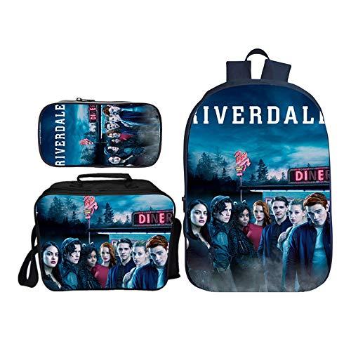 Riverdale Freizeitrucksack Rucksack 3-teiliges Set Kreativ Bedruckte Schultaschen Federmäppchen Umhängetaschen Daypacks Unisex (Color : A14, Size : 29 X 16 X 42cm)