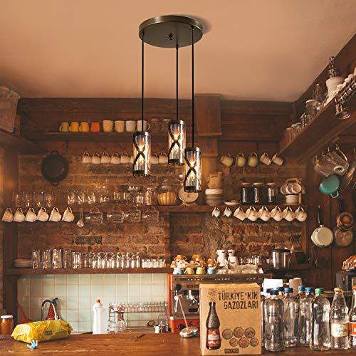 ZMH Pendelleuchte Vintage Esstischlampe Industrial 3-flammig E14 Pendelleuchte aus Glas und Eisen Esstisch Pendelleuchte Hängeleuchte Retro Loft Anhänger Hängelampe Landhausstil Vintage Retro