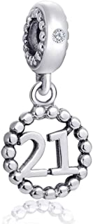 Choruslove Milestones 21 Number Charms for Pandora Snake Bracelet, 925 Sterling Silver Beads Inlay CZ Birthstone Dangle 21st Birthday Annivesary Pendant, Gifts for Boys/Girls/Best Friends