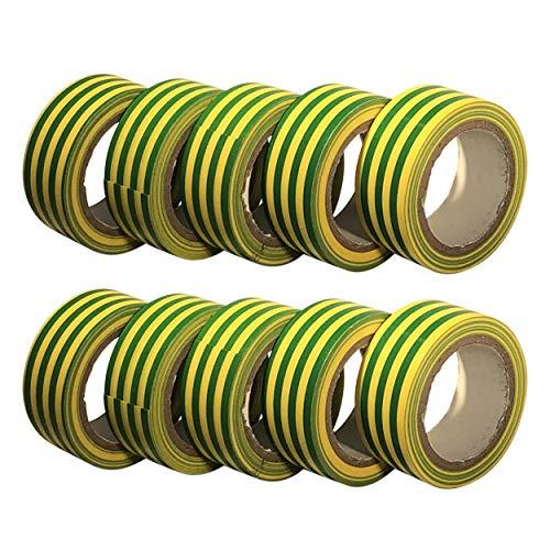 GTDE - 10 rotoli di nastro isolante elettrico in PVC, 5 m x 19 mm, confezione da 10 rotoli grandi