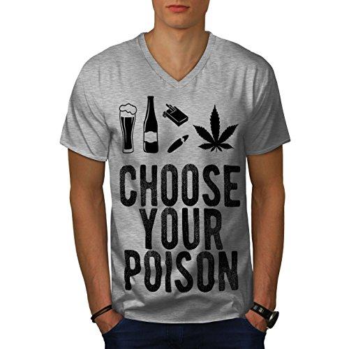 wellcoda Wein Bier Gift Komisch MännerV-Ausschnitt T-Shirt Auswahl Grafikdesign-T-Stück