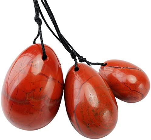 mookaitedecor Red Jasper Yoni Eggs Set of 3 Predrilled with Unwaxed String Massage Stones for product image