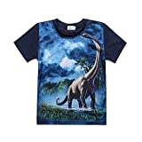 EULLA - Camiseta de manga corta para niño (algodón, diseño de dinosaurio) 03-negro azul 110 cm
