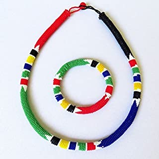 African Zulu beaded necklace and round bracelet set - South African Flag - Gift for her