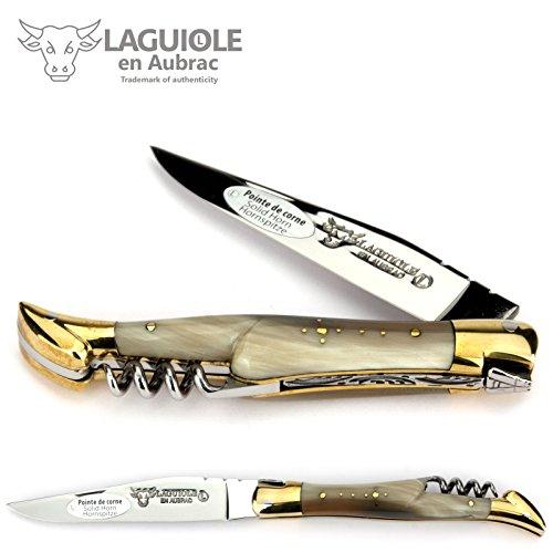 LAGUIOLE en Aubrac Taschenmesser - 11 cm - Korkenzieher - Griff Hornspitze - Backen Messing - Klinge 12c27 Sandvik Stahl
