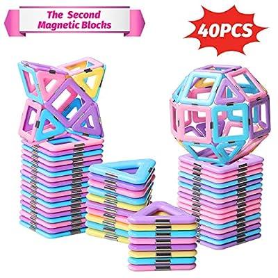 HOMOFY 40PCS Castle Magnetic Blocks - Learning & Development Magnetic Tiles Building Blocks Kids Toys for 3 4 5 6 7 Years Old Boys Girls Gifts