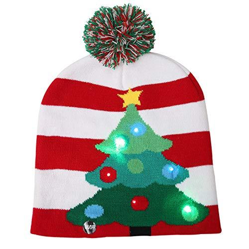 Gorro de punto con luz LED, gorro de punto de Navidad, 6 coloridos LED de invierno, cálido gorro de vacaciones, gorra unisex para adultos y niños, decoración de Navidad, regalo, 3 modos de parpadeo