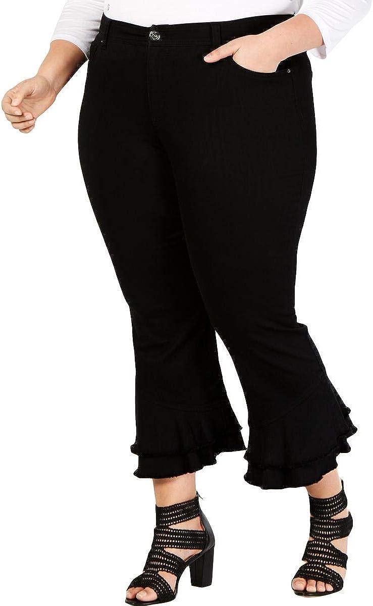 INC International Concepts Women's Plus Size Ruffle-Hem Ankle Pants