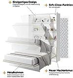 Schrankbett Bed Concept, Wandklappbett mit Lattenrost, V-Bett, Wandbett Bettschrank Schrank mit integriertem Klappbett Funktionsbett (BC-01, 140 x 200 cm, Weiß/Weiß, Vertical) - 3