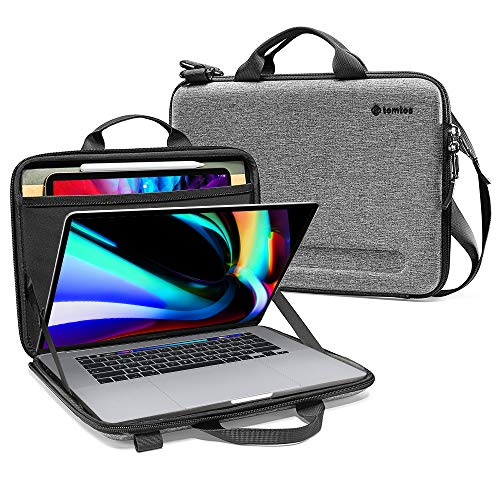 tomtoc 16 inch Laptop Sleeve, Hardshell Shoulder Case for 16-inch New MacBook Pro A2141, Organized Shoulder Bag with Tablet Pocket for Up to 12,9 Inch iPad Pro