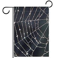 ホームガーデンフラッグ両面春夏庭屋外装飾 12x18inch,蜘蛛の巣