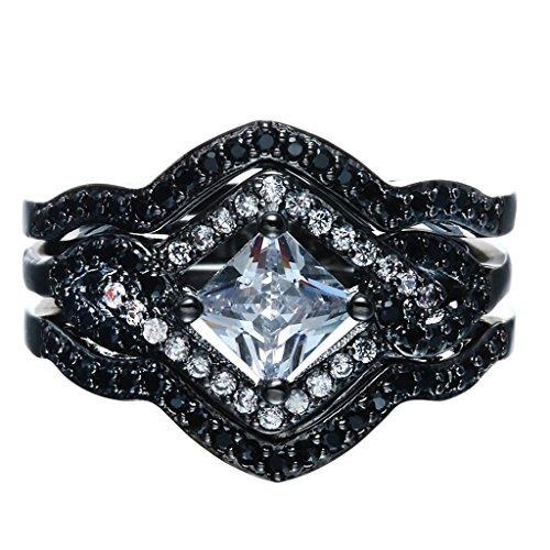 Bigood Women Wave Band Diamond Retro 18K Stainless Steel Rings Black 7