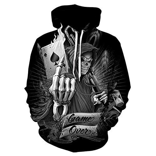 3D Hoodie Harajuku Skull Hoodie Unisex 3D-Druck Cosplay Kostüm Sweatshirt Männer Frauen Hoodies Sweatshirts Trainingsanzüge Asiansizexxl We