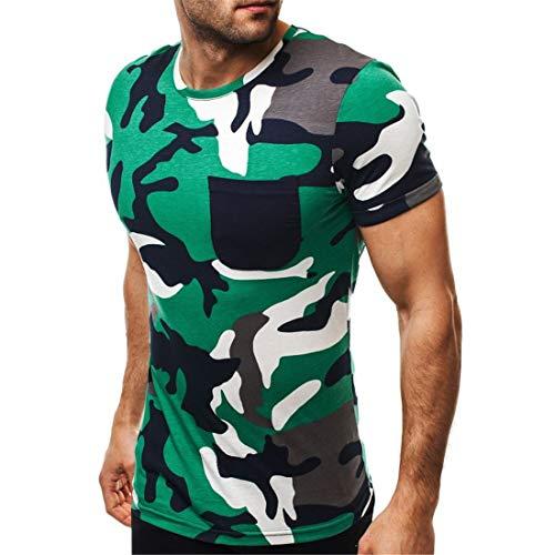 Deportiva Camisa Hombre Moderna Verano Bolsillo Hombre T-Shirt Básica Slim It Stretch Cuello Redondo Camuflaje Estampado Manga Corta Shirt Diario Casual All-Match Correr Shirt B-Green XL