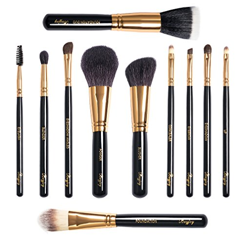 GOTTA 11 Pieces Makeup Brushes Set Professional Cosmetic Brush Tools Soft Goat Hair Fiber with Portable Organizer Zipper Bag, Golden