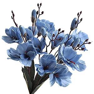 Silk Flower Arrangements dSNAPoutof 1 Bundle Artificial Gladiolus Landscaping Table Top Ornaments Faux Silk Flower Living Room Simulation Plant for Wedding, Home Decor, Party, Garden - Blue