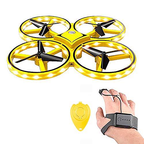 QYHSS RC Mini Drohne, Handsteuerung Infrarot Induktion Quadrocopter, 360 ° drehbare Mini-Drohne mit 32 LED-Leuchten, handgesteuertes Drohnen-Spielzeug für Kindergeschenke (gelb)