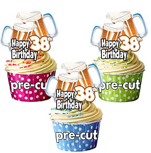 Decoración para cupcakes comestible con diseño de vaso de pinta de cerveza de 38 cumpleaños, para hombre o mujer, para celebraciones, fiestas 12 unidades