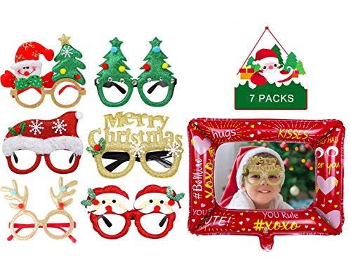 6 Piezas Gafas de Navidad, Marco de Gafas de Navidad, Marco de anteojos de Navidad, con 1 Pieza Globo de Marco de Fotos