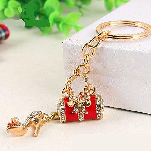 JewelBeauty Flower Drum with High Heels Shoe Keychain Key Ring Key Chain Cinderella Charms Women Car Trinket Female's Gift Key Ring Key Holder Key fob Bag Fashion Accessories (Red)