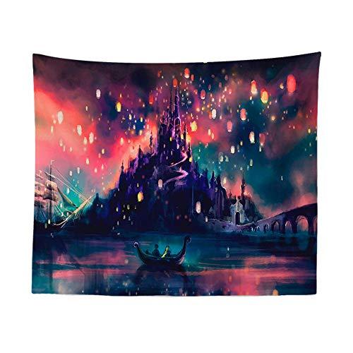 Tapestry muurhanger, Cartoon Bootverlichting en Burg, Boheemse Trippy Psychedelic Hippie Nordic minimalistische print stof, grote kunst decoratieve doek voor woonkamer en slaapkamer 150 × 130 cm