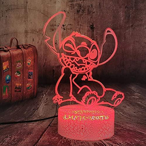 Lámpara De Ilusión 3D Luz De Noche Led Linda Caricatura Lilo Stitch Lámpara De Mesa Control Remoto 7 Colores Decoración De Dormitorio Mejor Cumpleaños Para Niños