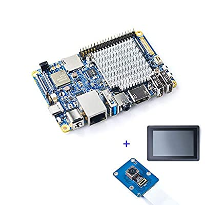 NanoPC-T4 +Camera + LCD with Rockchip RK3399 & Dual-Channel 4GB LPDDR3 and 16GB eMMC 5.1 Flash & Native Gigabit Ethernet & Dual Antenna Interface, Support Android 7.1.2, Lubuntu 16.04