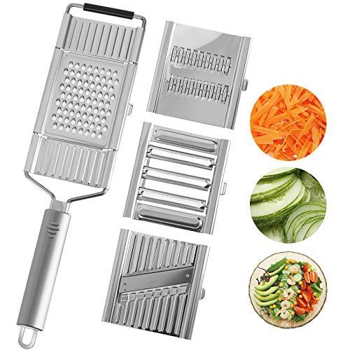 Affettatrice multiuso per verdure, tritacarne manuale 4 in 1, grattugia per patate in acciaio inossidabile Affettatrice per cetrioli Tritatutto per verdure Tagliaverdure per cucina