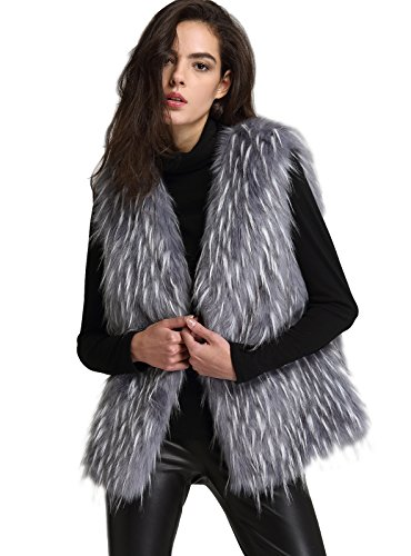 ANNA&CHRIS Womens Soft Sleeveless Faux Fur Vest Gradient Waistcoat Jacket, Gray, Medium