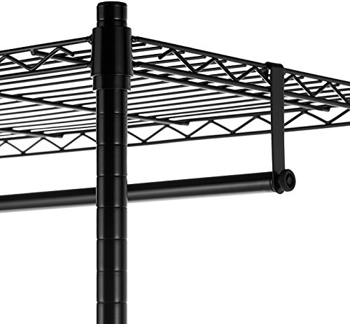 AmazonBasics Garment Hanging Rolling Rack with Top and Bottom Shelves - Black