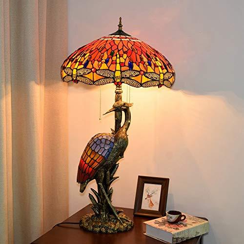 Wsw - Lámpara de mesa europea, diseño de grúa de hada, creativa, retro, cristal, salón, hotel, restaurante, decoración de lámpara libellula, rojo, mesa luminosa, 45 x 85 cm, simplicidad elegante