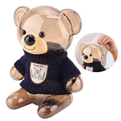 Jeffergarden spaarvarken kinderen munt spaarvarken spaarpot cartoon kleding beer kunststof transparant blauw