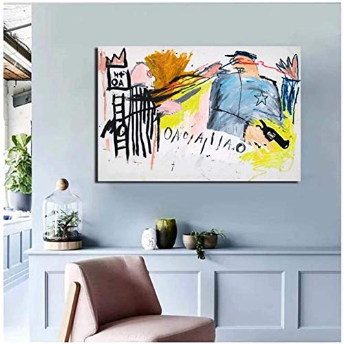 zhangyongjie Jean-Michel Basquiat Wall Art Canvas Picture Posters and Prints Wall Art Canvas pictures For living Room Home Decor Gift -60x80cm No Frame