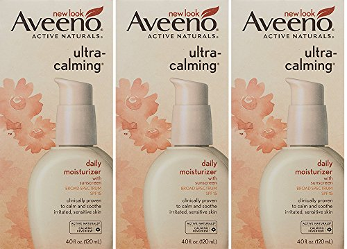 Aveeno Ultra-Calming Daily BldGO Moisturizer For Sensitive Skin With Broad Spectrum Spf 15, 4 oz (Pack of 3)