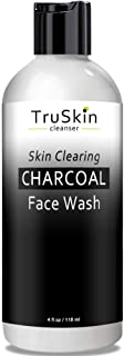 TruSkin Charcoal Face Wash, Anti Aging Facial Cleanser with Activated Coconut Charcoal, Reishi and Astragalus Root for Men and Women, 4 fl oz