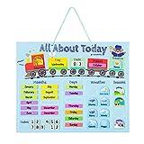 Navaris Calendario de Aprendizaje para niños - Tablero Educativo Montessori en inglés - Pizarra para Aprender días Meses Estaciones con 43 imanes