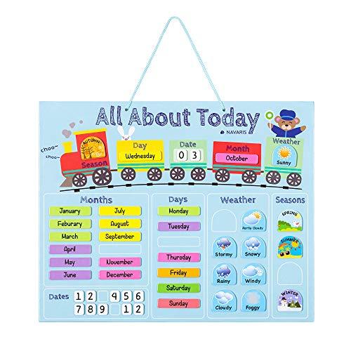 Navaris Kalender Tafel für Kinder - Lerntafel Jahreszeiten Uhr - Magnet Spiel Lernuhr - Kinderkalender Jahreskalender - magnetisch - blau - englisch