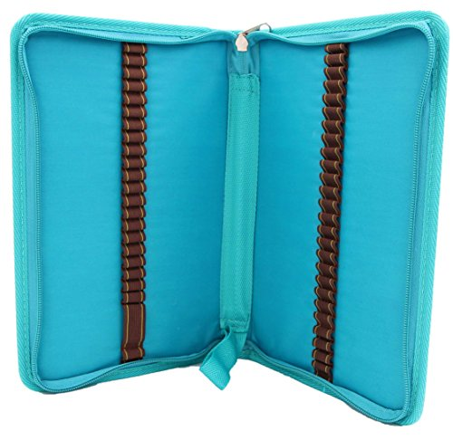 Colored Pencil Case - LeBeila 48 Slots Handy Canvas Stationary Pouch, Artist&Student Zipper Closure Storage Organizer Holder For Crayola Watercolor Pencils, Gel Pens, Small Markers (48 hole, Sky Blue)