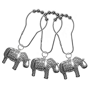 Lierpit Elephant Shower Curtain Hooks Rings Elephant Thinker Art Hooks Animal Pendant Accessories Set Home Bathroom Stainless Steel Rustproof Shower Curtain Rings Decor Accessories